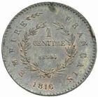 Photo numismatique  MONNAIES MODERNES FRANÇAISES NAPOLEON II, (20 mars 1811-22 juillet 1832)  Essai de 1 centime daté 1816.
