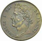 Photo numismatique  MONNAIES MODERNES FRANÇAISES CHARLES X (16 septembre 1824-2 août 1830)  Essai de 10 centimes de Tiolier.