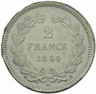 Photo numismatique  MONNAIES MODERNES FRANÇAISES LOUIS-PHILIPPE Ier (9 août 1830-24 février 1848)  Frappe en carton de 2 francs 1844.