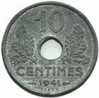 Photo numismatique  MONNAIES MODERNES FRANÇAISES ÉTAT Français (10 juillet 1940-1944)  Essai en piéfort de 10 centimes 1941 en zinc.