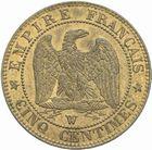 Photo numismatique  MONNAIES MODERNES FRANÇAISES NAPOLEON III, empereur (2 décembre 1852-1er septembre 1870)  5 centimes 1853 W.