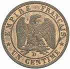 Photo numismatique  MONNAIES MODERNES FRANÇAISES NAPOLEON III, empereur (2 décembre 1852-1er septembre 1870)  1 centime 1853 D.