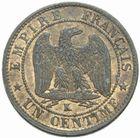 Photo numismatique  MONNAIES MODERNES FRANÇAISES NAPOLEON III, empereur (2 décembre 1852-1er septembre 1870)  1 centime 1855 K.