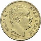 Photo numismatique  MONNAIES MONNAIES DU MONDE SERBIE MILAN Ier, roi (1882-1889) 20 dinara 1882 or.
