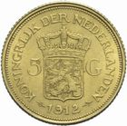 Photo numismatique  MONNAIES MONNAIES DU MONDE PAYS-BAS WILHELMINE (1890-1948) 5 gulden 1912 or.