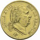 Photo numismatique  MONNAIES MODERNES FRANÇAISES LOUIS XVIII, 2e restauration (8 juillet 1815-16 septembre 1824)  40 francs 1824 or.