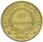 Photo numismatique  MONNAIES MODERNES FRANÇAISES NAPOLEON Ier, empereur (18 mai 1804- 6 avril 1814)  40 francs 1807 or.