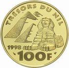 Photo numismatique  MONNAIES MODERNES FRANÇAISES 5ème RÉPUBLIQUE (Depuis le 4 octobre 1958)  100 francs 1998 or, Touthankhamon.