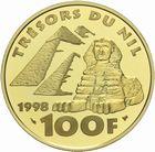 Photo numismatique  MONNAIES MODERNES FRANÇAISES 5ème RÉPUBLIQUE (Depuis le 4 octobre 1958)  100 francs 1998 or, Scribe assis.