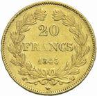 Photo numismatique  MONNAIES MODERNES FRANÇAISES LOUIS-PHILIPPE Ier (9 août 1830-24 février 1848)  20 francs or 1843.