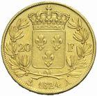 Photo numismatique  MONNAIES MODERNES FRANÇAISES LOUIS XVIII, 2e restauration (8 juillet 1815-16 septembre 1824)  20 francs or 1824.