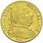 Photo numismatique  MONNAIES MODERNES FRANÇAISES LOUIS XVIII, 1ère restauration (3 mai 1814-20 mars 1815)  20 francs or 1815.