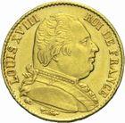 Photo numismatique  MONNAIES MODERNES FRANÇAISES LOUIS XVIII, 1ère restauration (3 mai 1814-20 mars 1815)  20 francs or 1814.