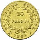 Photo numismatique  MONNAIES MODERNES FRANÇAISES NAPOLEON Ier, empereur (18 mai 1804- 6 avril 1814)  20 francs or 1806.