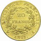 Photo numismatique  MONNAIES MODERNES FRANÇAISES LE CONSULAT (à partir du 24 décembre 1799-18 mai 1804) Bonaparte 1er Consul 20 francs or an 12.