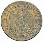 Photo numismatique  MONNAIES MODERNES FRANÇAISES NAPOLEON III, empereur (2 décembre 1852-1er septembre 1870)  Cinq centimes 1862.