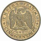 Photo numismatique  MONNAIES MODERNES FRANÇAISES NAPOLEON III, empereur (2 décembre 1852-1er septembre 1870)  Cinq centimes 1863.
