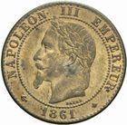 Photo numismatique  MONNAIES MODERNES FRANÇAISES NAPOLEON III, empereur (2 décembre 1852-1er septembre 1870)  Deux centimes 1961.