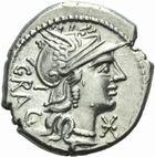 Photo numismatique  MONNAIES REPUBLIQUE ROMAINE L. Antestius Gragulus (vers 136)  Denier.