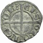 Photo numismatique  MONNAIES BARONNIALES Evêché de GRENOBLE L'évêque et le dauphin Humbert Ier. Denier de 1281-1307.
