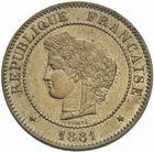 Photo numismatique  MONNAIES MODERNES FRANÇAISES 3ème REPUBLIQUE (4 septembre 1870-10 juillet 1940)  5 centimes, Paris 1881.