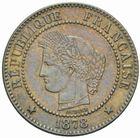 Photo numismatique  MONNAIES MODERNES FRANÇAISES 3ème REPUBLIQUE (4 septembre 1870-10 juillet 1940)  2 centimes, Paris 1878.