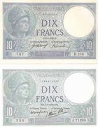 Photo numismatique  ARCHIVES VENTE 2011 -Coll Amateur Bourguignon 2 PAPIER MONNAIE BANQUE DE FRANCE  714- 10 FRANCS (MINERVE) deux variétés.