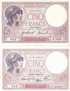 Photo numismatique  ARCHIVES VENTE 2011 -Coll Amateur Bourguignon 2 PAPIER MONNAIE BANQUE DE FRANCE  713- 5 FRANCS (VIOLET) deux variétés.