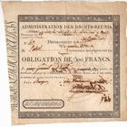Photo numismatique  ARCHIVES VENTE 2011 -Coll Amateur Bourguignon 2 PAPIER MONNAIE ADMINISTRATION DES DROITS-REUNIS Bourges (Cher) 704- OBLIGATION DE 500 FRANCS.