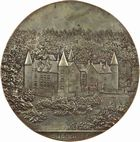 Photo numismatique  ARCHIVES VENTE 2011 -Coll Amateur Bourguignon 2 MEDAILLES MEDAILLES CONCERNANT BOURGOGNE ET FRANCHE-COMTE Médaille de J. C. Chaplain 209- Château de Bourbilly (Côte-d'Or), épreuve.