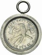Photo numismatique  ARCHIVES VENTE 2011 -Coll Amateur Bourguignon 2 MEDAILLES MEDAILLES CONCERNANT BOURGOGNE ET FRANCHE-COMTE M�daille de Tir 203- F�nay (Sa�ne-et-Loire), tir en cible des sapeurs-pompiers, 1883.