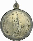 Photo numismatique  ARCHIVES VENTE 2011 -Coll Amateur Bourguignon 2 MEDAILLES MEDAILLES CONCERNANT BOURGOGNE ET FRANCHE-COMTE Médaille de Tir 197- Dijon, prix au fusil du 10 germinal an 9.
