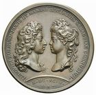 Photo numismatique  ARCHIVES VENTE 2011 -Coll Amateur Bourguignon 2 MÉDAILLES MEDAILLES CONCERNANT BOURGOGNE ET FRANCHE-COMTE Mariage du duc de Bourgogne, 1697 179- Mariage du duc de Bourgogne avec Marie-Adélaïde de Savoie, 1697.