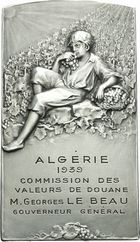 Photo numismatique  ARCHIVES VENTE 2011 MEDAILLES MEDAILLES COLONIALES Alg�rie 171- Commission des valeurs de Douane, Alg�rie, 1939.