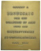 Photo numismatique  ARCHIVES VENTE 2011 -Coll Amateur Bourguignon 2 MEDAILLES MEDAILLES COLONIALES Algérie 169- BROUSSAIS,cinquantenaire au  Conseil Général d'Alger, 1886-1936.