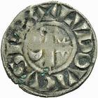 Photo numismatique  ARCHIVES VENTE 2011 -Coll Amateur Bourguignon 2 ROYALES FRANCAISES LOUIS VII (1er août 1137-18 septembre 1180)  94- Denier frappé à Langres à l'époque de Louis VII, immobilisation au nom du roi Louis.