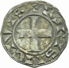 Photo numismatique  ARCHIVES VENTE 2011 -Coll Amateur Bourguignon 2 ROYALES FRANCAISES LOUIS VII (1er août 1137-18 septembre 1180)  92- Denier du 3ème type, frappé à Paris.