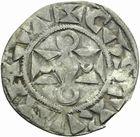 Photo numismatique  ARCHIVES VENTE 2011 -Coll Amateur Bourguignon 2 ROYALES FRANCAISES LOUIS VII (1er août 1137-18 septembre 1180)  90- Denier du 1er type, frappé à Mantes.