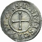 Photo numismatique  ARCHIVES VENTE 2011 -Coll Amateur Bourguignon 2 CAROLINGIENS CHARLES LE CHAUVE, roi (840-875) - empereur (jour de Noël 875-6 octobre 877) Type GDR (après 864) 49- Denier au type GDR, frappé à Reims après 864.