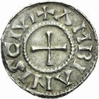 Photo numismatique  ARCHIVES VENTE 2011 -Coll Amateur Bourguignon 2 CAROLINGIENS CHARLES LE CHAUVE, roi (840-875) - empereur (jour de Noël 875-6 octobre 877) Type GDR (après 864) 47- Denier au type GDR, frappé à Amiens après 864.