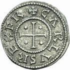 Photo numismatique  ARCHIVES VENTE 2011 -Coll Amateur Bourguignon 2 CAROLINGIENS CHARLES LE CHAUVE, roi (840-875) - empereur (jour de Noël 875-6 octobre 877) Type au temple (840-864) 45- Denier au temple frappé à Paris avant 864.