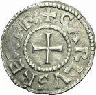 Photo numismatique  ARCHIVES VENTE 2011 -Coll Amateur Bourguignon 2 CAROLINGIENS CHARLES LE CHAUVE, roi (840-875) - empereur (jour de Noël 875-6 octobre 877) Type bilinéaire (840-864) 44- Denier frappé à Sens avant 864.
