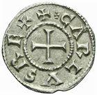 Photo numismatique  ARCHIVES VENTE 2011 -Coll Amateur Bourguignon 2 CAROLINGIENS CHARLES LE CHAUVE, roi (840-875) - empereur (jour de Noël 875-6 octobre 877) Type bilinéaire (840-864) 41- Denier frappé à  Meaux  avant 864.