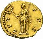 Photo numismatique  ARCHIVES VENTE 2011 -Coll Amateur Bourguignon 2 EMPIRE ROMAIN FAUSTINE mère (épouse d'Antonin +141)  1e- Aureus frappé à Rome après 141.