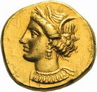 Photo numismatique  ARCHIVES VENTE 2011 -Coll Amateur Bourguignon 2 GRECE ANTIQUE ZEUGITANE Carthage (350-320) 1a-  Statère d'or.
