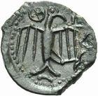 Photo numismatique  MONNAIES IBERIE- GAULE - CELTES CARNUTES (région de Chartres)  Bronze au profil géométrique.