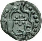 Photo numismatique  MONNAIES IBERIE- GAULE - CELTES CARNUTES (région de Chartres)  Bronze à l'aigle et à l'aiglon.