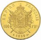 Photo numismatique  MONNAIES MODERNES FRANÇAISES NAPOLEON III, empereur (2 décembre 1852-1er septembre 1870)  100 francs or, Paris 1859.