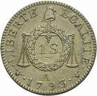 Photo numismatique  MONNAIES MODERNES FRANÇAISES LA CONVENTION (22 septembre 1792 - 26 octobre 1795)  Essai du sol à la balance, Paris 1793.
