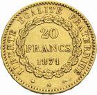 Photo numismatique  MONNAIES MODERNES FRANÇAISES 3ème REPUBLIQUE (4 septembre 1870-10 juillet 1940)  20 francs or, Paris 1871.